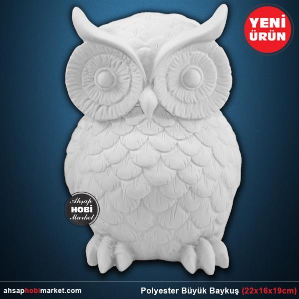 Polyester Buyuk Baykus Heykeli 22x16x20cm Ahsap Hobi Market