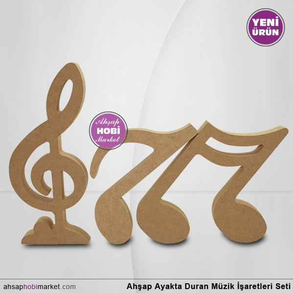 Ahsap Ayakta Duran Muzik Notalari Seti 18mm Ahsap Hobi Market