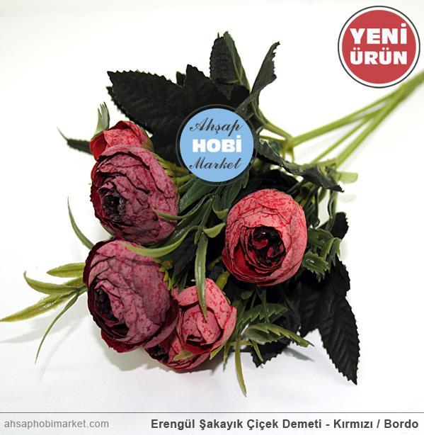 Erengül şakayık çiçek Demeti Kırmızı Bordo Ahşap Hobi Market