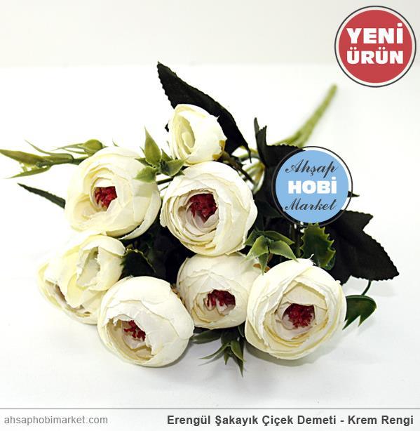 Erengül şakayık çiçek Demeti Krem Rengi Ahşap Hobi Market