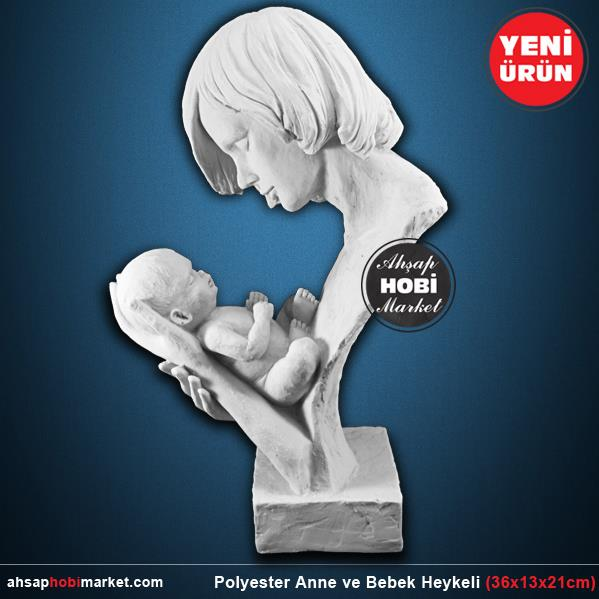 Polyester Anne Ve Bebek Heykeli 36x13x21cm Ahsap Hobi Market
