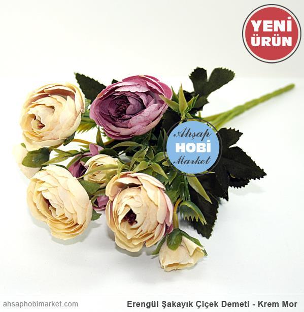 Erengül şakayık çiçek Demeti Krem Mor Ahşap Hobi Market