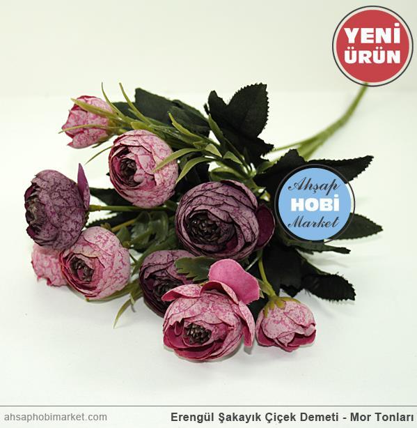 Erengül şakayık çiçek Demeti Mor Tonları Ahşap Hobi Market