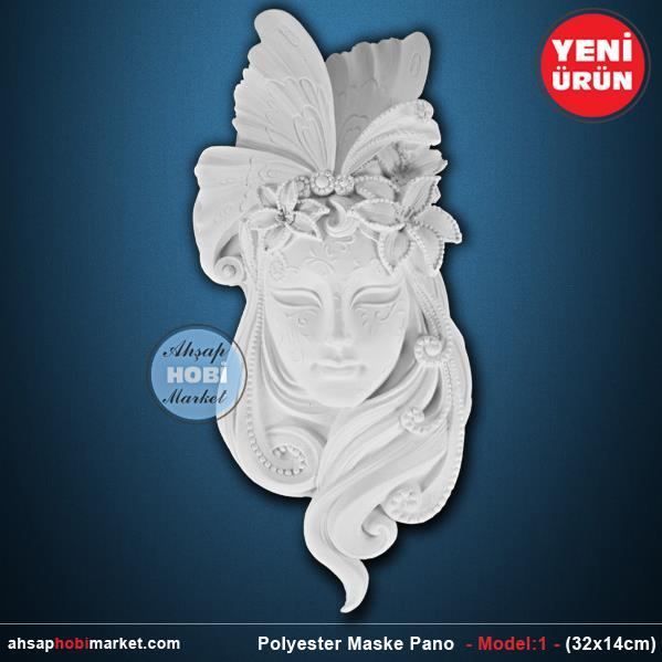 Polyester Maske Pano Model 1 32x14cm Ahsap Hobi Market