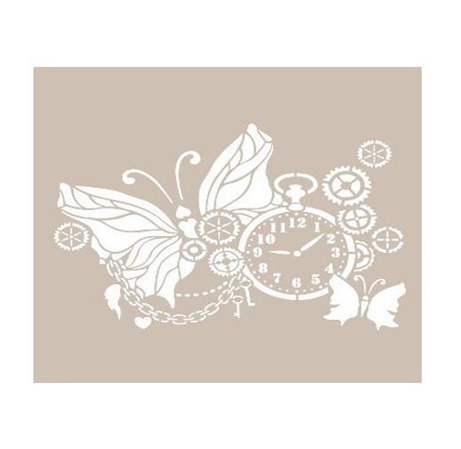 Kelebek Ve Saat Temali Stencil Sablon As533 Ahsap Hobi Market